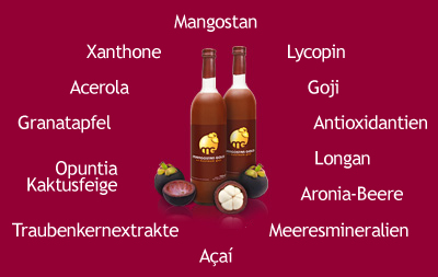 Mangosteen, Lycopin, Antioxidantien, Meeresmineralien, Granatapfel, Opuntio-Kaktusfeige, Vitamine, Xanthone